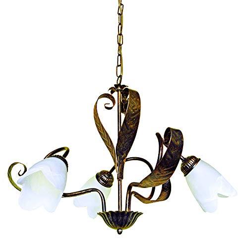 onli retorcidos lámpara metal marrón estilo rústico, Bronce y blanco