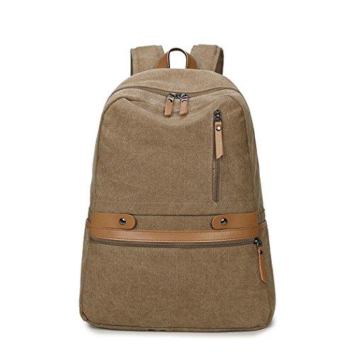 Retro Canvas voyage sac à dos multifonctionnel loisir Backpack alpinisme randonnée Camping Pack sac à main bandoulière , khaki