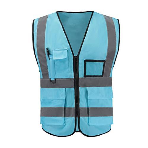 La seguridad Unisex de alta visibilidad Chaleco reflectante Lugar de trabajo Traje de carretera Moto Deportes Ropa de seguridad reflectante para exteriores Ligero (Color : Light blue)