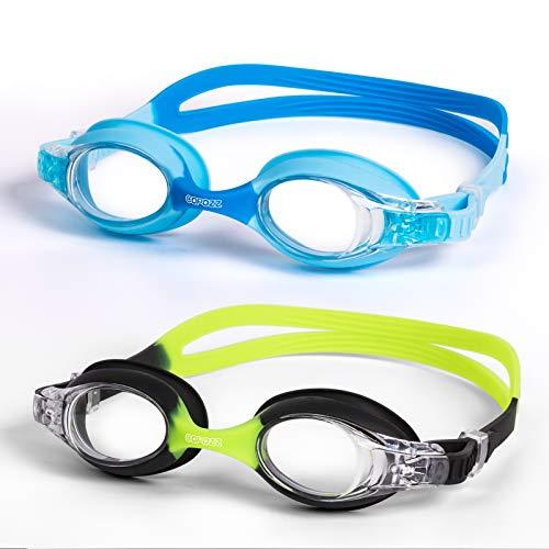 COPOZZ Kinder Schwimmbrille 2 Stücke, Swim Schwimmbrillen für Kinder Jungen, Mädchen, Alter 4 5 6 7 8 9 10 11 12 Jahre, Anti Nebel UV-Schutz kein Leck - Spiegel/Clear Lens(Blau+Grün)
