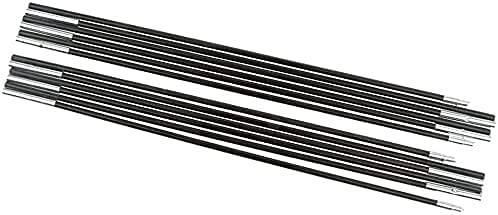 HTDHS Fibra de Vidrio Negro Campamento de campaña al Aire Libre Poste de la Carpa Reemplazo de la Barra Poste de Lona Ajustable (Tamaño: 1 Poste 4 Sección) (Size : 2 Poles 9 Section Each)