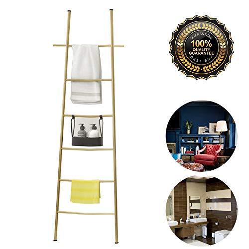 M-TOP Ladder Handdoekenrekken voor badkamer, wandleunende dekenladderhouder, 6 niveaus decoratieve wandladderplank roestvrij staal, quiltladderstandaard voor dekens, kledingtijdschriften