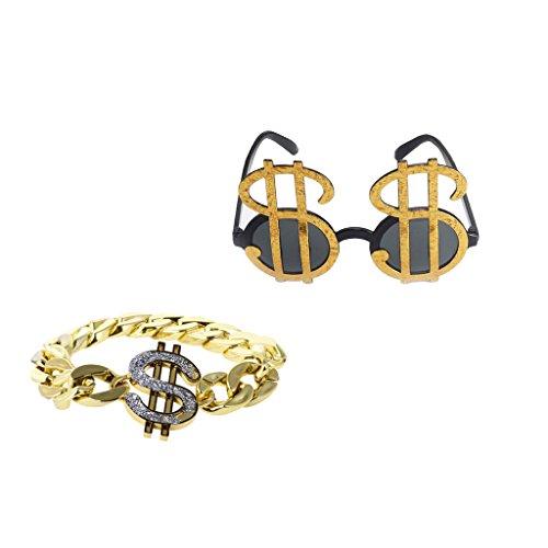 Colcolo 2pcs Glitter Dollar Party Gafas Pulsera Hip Hop Disfraz Prop