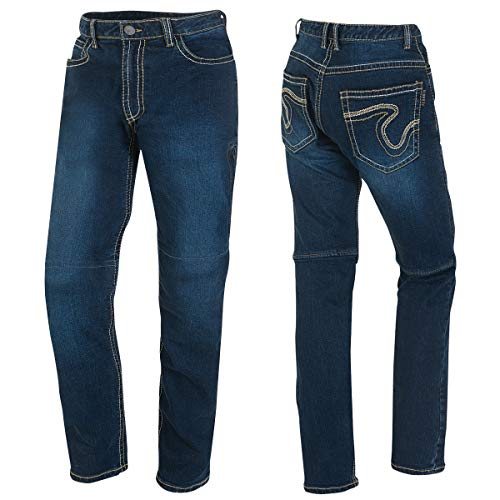 Germot Herren Motorrad-Jeans Jason, herausnehmbare Knie-Protektoren, Slim Fit, blau, Gr. 34/32