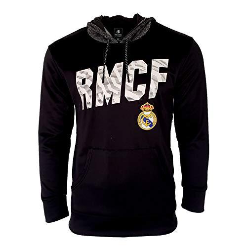Real Madrid Hooded RM Sweatshirt Hoodie Pull Over Jacket BlackAdults Official Licensed New Season L