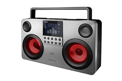 Boombox portátil S.DIGITAL. Altavoz Bluetooth inalámbrico USB MP3 FM SD – color plata