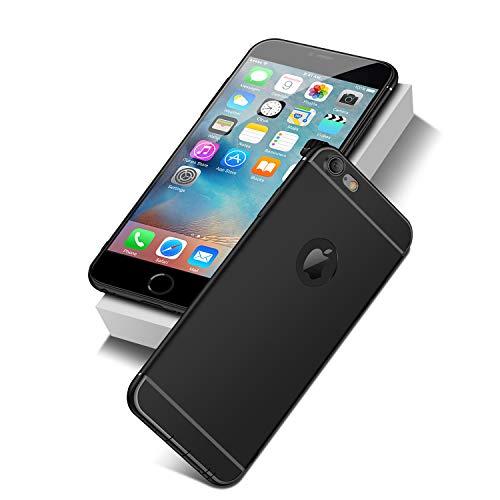 NEW'C Cover Compatibile con iPhone 6 e iPhone 6S in Silicone Nero [Gel TPU Ultra Sottile e Leggero] Custodia Protettiva con Urti Assorbimento e AntiGraffio