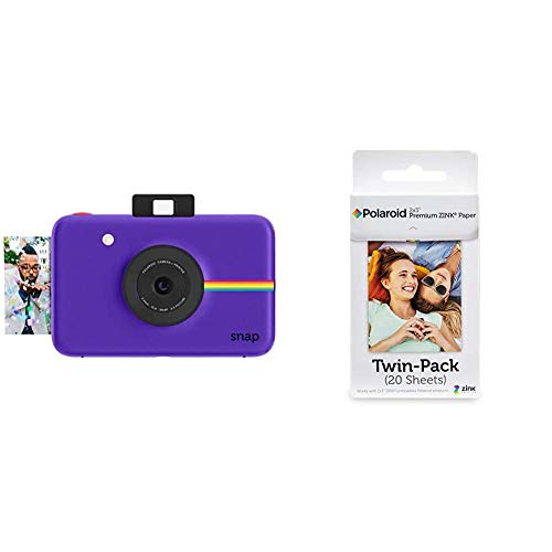 Polaroid Snap - Cámara Digital instantánea, tecnología de impresión Zink Zero Ink + Premium Zink Papel Fotografico (Paquete de 20 Hojas) Compatible con Polaroid Snap, Snap Touch, Mint, Z2300