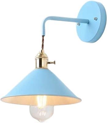 HJXDtech Moderne Appliques Murales En Métal Coloré Vintage E27 Douille En Laiton avec Bouton Commutateur Applique Luminaire Couloir Salon Chambre Salle de bains Mur Lampe Support Lumière (Bleu)