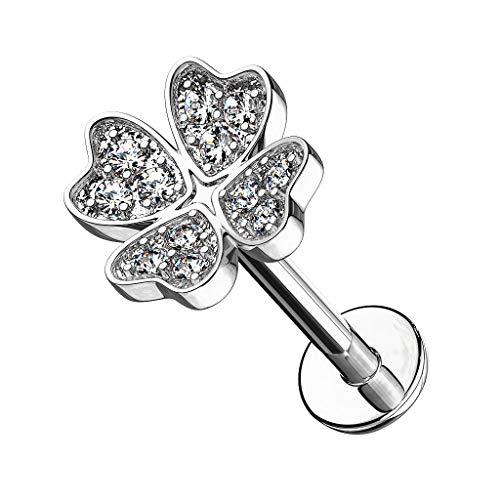 Piercingfaktor Piercing Stab mit Kristall Kleeblatt Lippe Ohr Labret Tragus Helix Knorpel Stecker Lippenpiercing Ohrpiercing Silber 6mm
