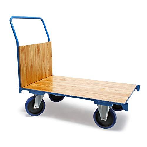 Transportwagen Plattformwagen 100 x 60 cm mit 600 kg Tragkraft, Griff und Bremse Transportkarre