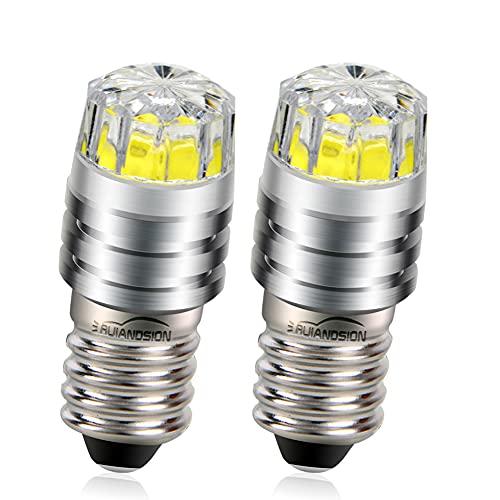 Ruiandsion - Bombillas LED de repuesto para linternas y linternas de cabeza, de 2 W COB 3 V, 6 V, 12 V, E10, Blanca/2700K Amarilla/4300 Blanca cálida, 2 unidades, Blanco, 6 V 🔥