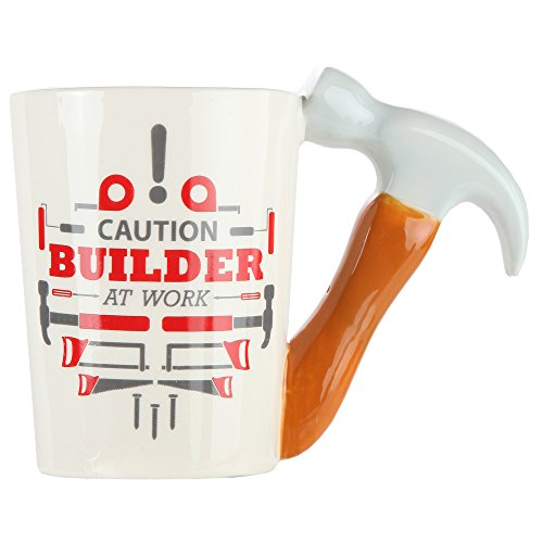 Hammer Handle Ceramic Coffee Mug. Novelty Coffee Mug with Tool Handle for DIY Enthusiasts, Contractors, Woodworkers, Carpenters & Electricians - by Home-X