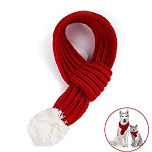 Bandanas écharpe de Noël pour Chien de Compagnie, écharpe Rouge d'hiver tricoté épais, Accessoires de Costume de Noël pour Animaux de Compagnie écharpe de Noël en Tricot pour Animal de Compagnie