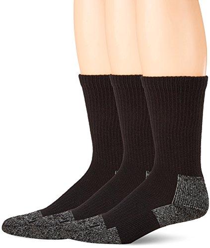 Terramar Odor Block, Reinforced Heel/Toe, Steel Toe Socks (Pack of 3), Black, Large/ 9-12