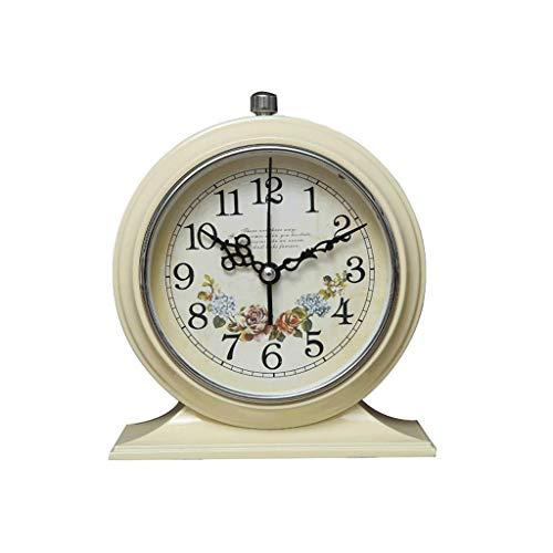 Luz nocturna analógica Reloj despertador silencios Despertador retro europeo del estudiante, dormitorio de cabecera creativo Mute pequeño despertador Reloj ruidoso fácil de configurar para niños que d