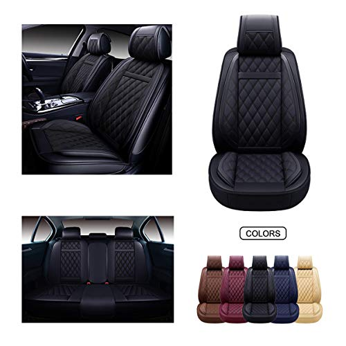 OASIS AUTO Leather Car Seat Covers, Faux Leatherette Automotive Vehicle Cushion Cover for Cars SUV Pick-up Truck Universal Fit Set for Auto Interior Accessories (Black, OS-009 Full Set)