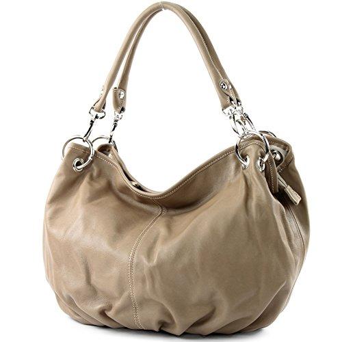 modamoda de - ital Damenhandtasche aus Nappaleder IT40, Dunkelbeige, sh. Beschreibung