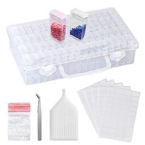Cozywind Caja De Pintura De Diamante Conjunto de Caja De Almacenamiento 91pcs Mini Caja para DIY,Uñas,Joyas,Bricolaje,Pintura Diamante y Punto de Cruz