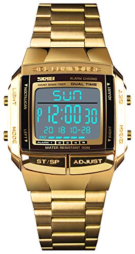 Mens Luxury Digital Watches Multifunctional Stopwatch Countdown Alarm Backlight Water Resistant Watch (Gold)