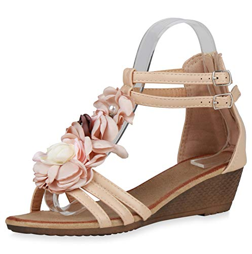 SCARPE VITA Damen Sandaletten Keilsandaletten Blumen Schuhe Zierperlen Sommer-Sandaletten Keilabsatz Sommer-Schuhe 196061 Nude Blumen 40