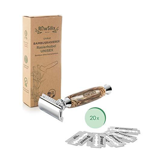RawSilix | Premium Rasierhobel inkl. 20 extra Klingen | Bambus Nassrasierer Herren & Frauen | Umweltfreundlich | 1 Kauf pflanzt 1 Baum | ZEROWASTE