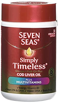 Seven Seas Cod Liver Oil fish Oil Plus Multivitamins with Omega-3 and Vitamin D, 30 Capsules Supplements