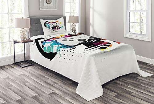 Lunarable Gamer - Colcha para consola moderna con diseño de medio tono y fondo de salpicaduras de color, juego de 2 piezas con funda de almohada, tamaño individual, color negro y gris