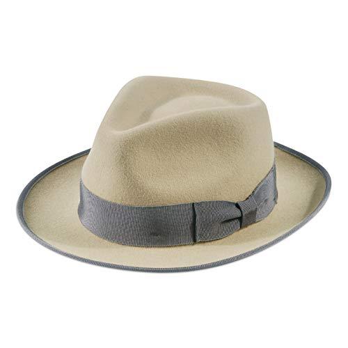Jack&Arrow Fedora per Uomo Cappello Panama Gangster in Feltro di Lana Tesa Larga Regolabile Vintage Beige L