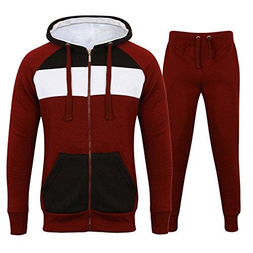 Herren Trainingsanzug Full Fleece Uni Trainingsanzug Zip Up Hoodie Jogginghose Fleece Best Suit Gr. Small, Burgundy 3Tone