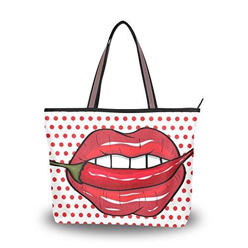 Bolsos Bolsos de hombro Monedero Compras Ligero Correa Tote Bag Labios rojos Polka Dot Comics Print Chili para mujeres niñas estudiantes