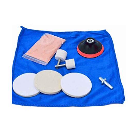 Kit per lucidatura vetri auto, 9 pezzi, per la rimozione dei graffi, con ossido di cerio in polvere, set di utensili per lucidatura vetri