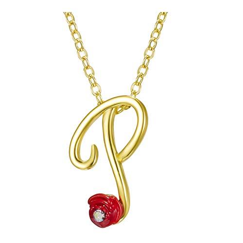 HINK Collar de Diamantes de imitación de Rosas con Letras 26 Collar con Colgante de Letras en inglés Retro Joyas y Relojes Collares y Colgantes