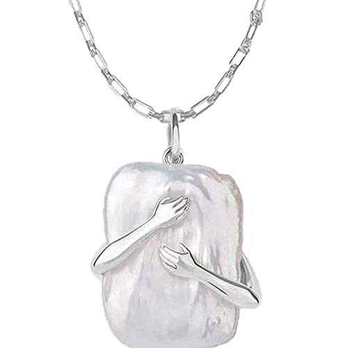Mrs. Li's shop Exquisite Vintage Square Hug Necklace Give Me A Hug Necklace Baroque Pearl Couple Embrace Pendant Necklace for Mother s Day (S925 Material)-Silver