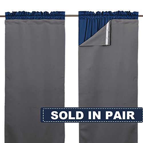 NICETOWN Blackout Drapery Liners for 84 inch Curtains - Thermal Insulated Rod Pocket Window Curtain Liners, Light Blocking Drape Liners (1 Pair with Bonus Curtain Hooks, Each is 27' x 80',Grey)