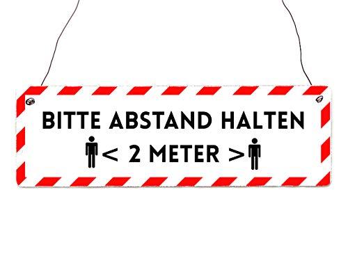 Interluxe houten bord - Houd afstand gearriveerd (rood) - schild in industriële stijl als indicatiebord voor afstandregeling in de winkel, boutique, bedrijf