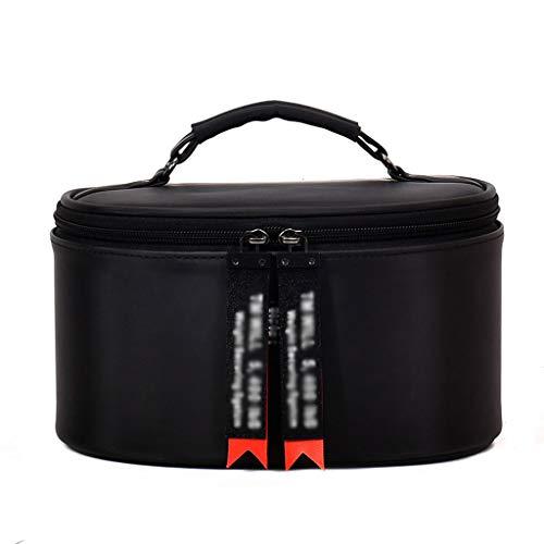 Sac cosmétique de Taille des Femmes Cosmetic Case Sac de Stockage Portable de Grande capacité Sac de Lavage Portable (Color : Black, Taille : 23 * 17 * 12cm)