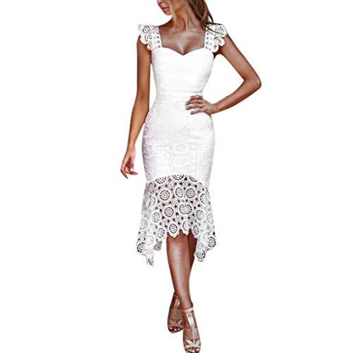Kleid Kleider Sommerkleid Elegant Vintage Schöne Damen Festliche Sommer Spitze Knielang Abend Abschlussball Rückenfrei A Linien Partykleid Cocktailkleid