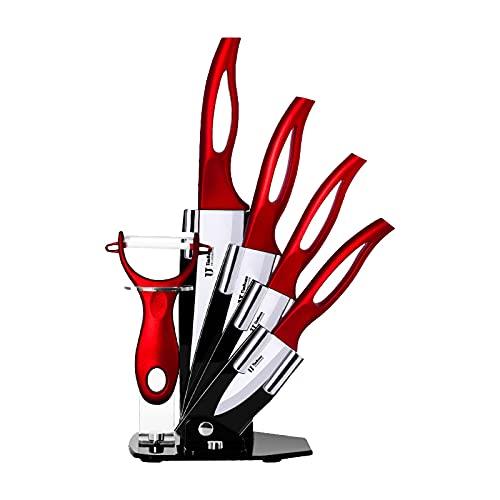 Mogzank Juego de Cuchillos de Cocina de 6 Piezas con Bloque, Juego de Cuchillos de CeráMica de Cocina con Manejar Hueco Cuchillos de Cocina Herramientas de Cocina (Rojo)