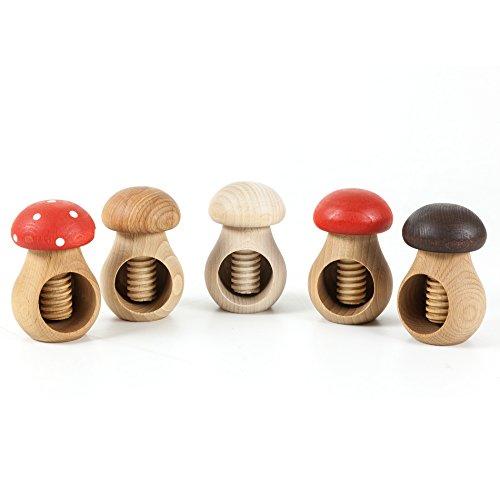5 Stück HolzFee Nussknacker Pilz Öko Design Nussschraube Set 5-teilig