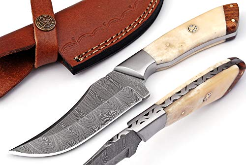 Bushcraft Knife- Handmade Hunting Knife Skinning Knife Camping Knife Overall 8'' Damascus Steel Fixed Blade Knives Best Edc Knife Bone Handle With Sheath