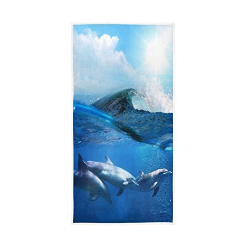 PIXIUXIU - Toallas de mano de secado rápido para el océano y los animales del mar de delfín absorbentes - Suave, gruesa, absorbente, para uso diario, 76 x 15 pulgadas