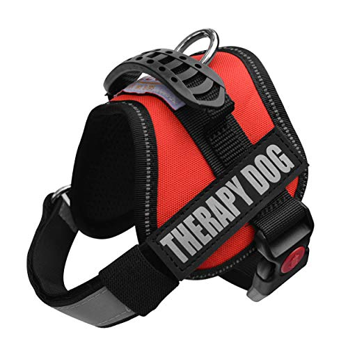 Albcorp Reflective Therapy Dog Vest Harness, Woven Polyester & Nylon, Adjustable Service Animal Jacket, with 2 Hook and Loop Therapy Dog Removable Patches, Extra Small, Red