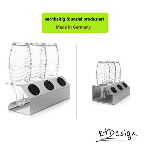ktDesign SodaStream Abtropfhalter aus Edelstahl für 3 Flaschen – Flaschenhalter mit Abtropfboden und Deckelhalterung für SodaStream Crystal, Emil- und Glasflaschen, Made in Germany