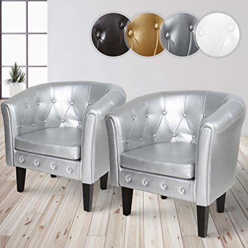 MIADOMODO Chesterfield Sessel aus Kunstleder und Holz - Bequem, mit Rautenmuster, Set verfügbar - Lounge Sessel, Clubsessel, Armsessel, Wohnzimmer Möbel (Silber, 2er)