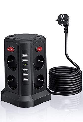 Ciabatta Multipresa,Sameriver Multipresa Verticale,5 porte USB e 8 prese,cavo prolungato di 5M,Protezione da Sovratensione e Cortocircuito,Torretta Multipresa per casa e ufficio,2500 W/10 A