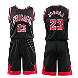 Daoseng Niño NBA Michael Jordan # 23 Chicago Bulls Retro Pantalones Cortos de Baloncesto Camisetas de Verano Uniformes y Adulto Tops de Baloncesto (Negro, T24 /Niño Altura 140-150CM)