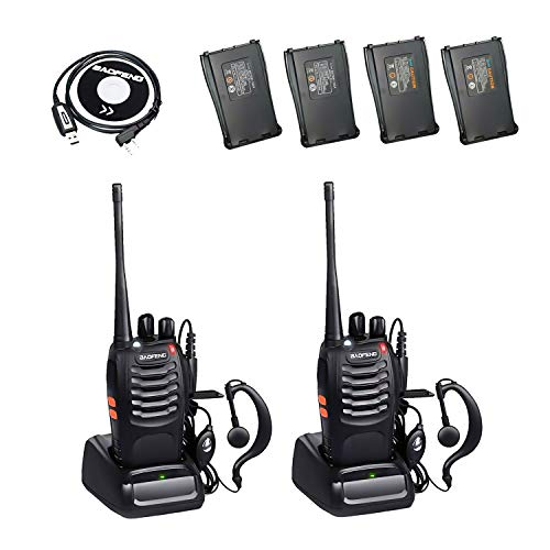 BaoFeng BF-888S 2 Way Radio with 4 1500mah Batteries and Earpiece Long Range Baofeng Walkie Talkie Two Way Radio (2 Pack) + One USB Programming Cable
