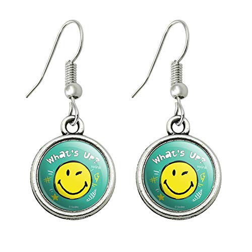 GRAPHICS & MORE What's Up Winky Smiley Face Emoticon Officially Licensed Novelty Dangling Drop Charm Earrings