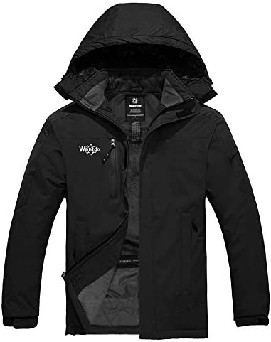 Wantdo Men s Waterproof Ski Jacket Fleece Lined Snow Coat Quilted Winter Outerwear Black M product image